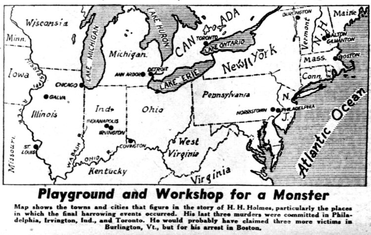 1939 map of Serial killer H H Holmes sites - Mudgett murders in US