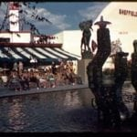 World's Fair 1939: Swedish Pavilion and Sheffield Farms with Orrefors crystal fountain in foreground