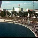 World's Fair 1939: View from trylon and perisphere toward AT&T Building