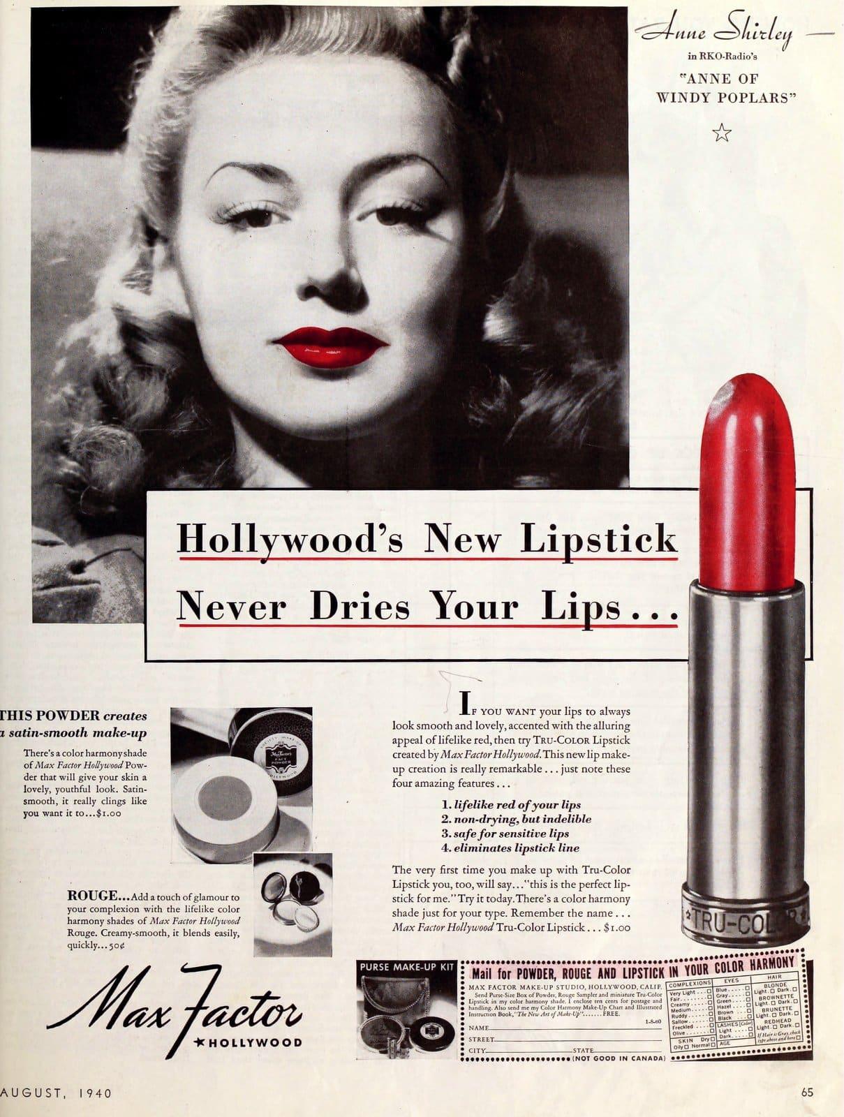 1940 - Max Factor lipstick