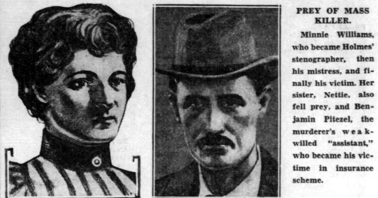1940 images of H H Holmes Mudgett murder victims Minnie Williams and Benjamin Pitezel