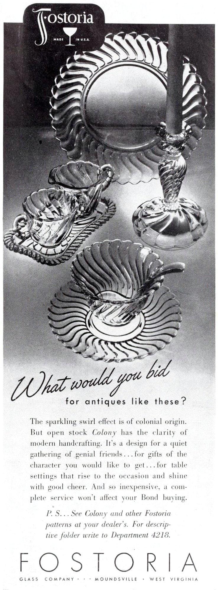 1940s Fostoria glassware from 1942 (1)