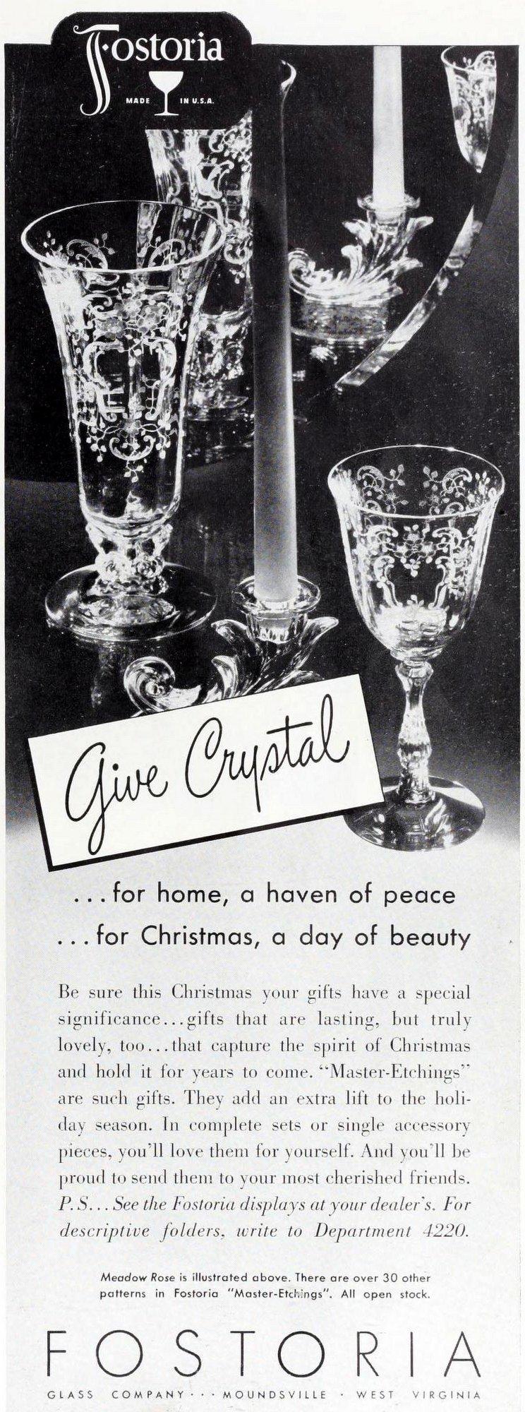 1940s Fostoria glassware from 1942 (2)