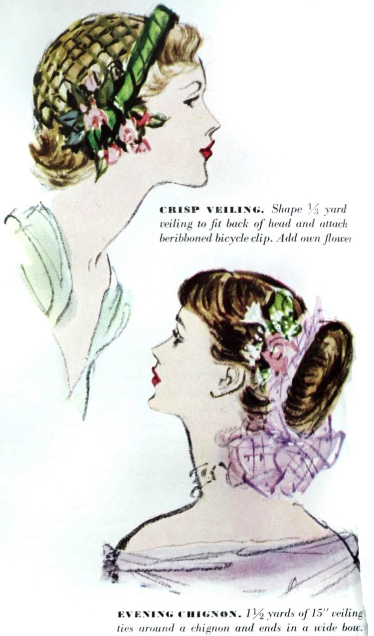 Veiling and chignon in 40s hairstyles