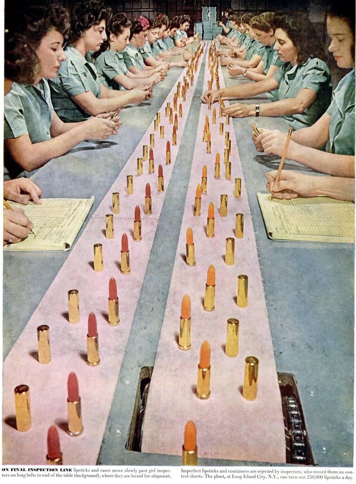 1940s lipstick factory women