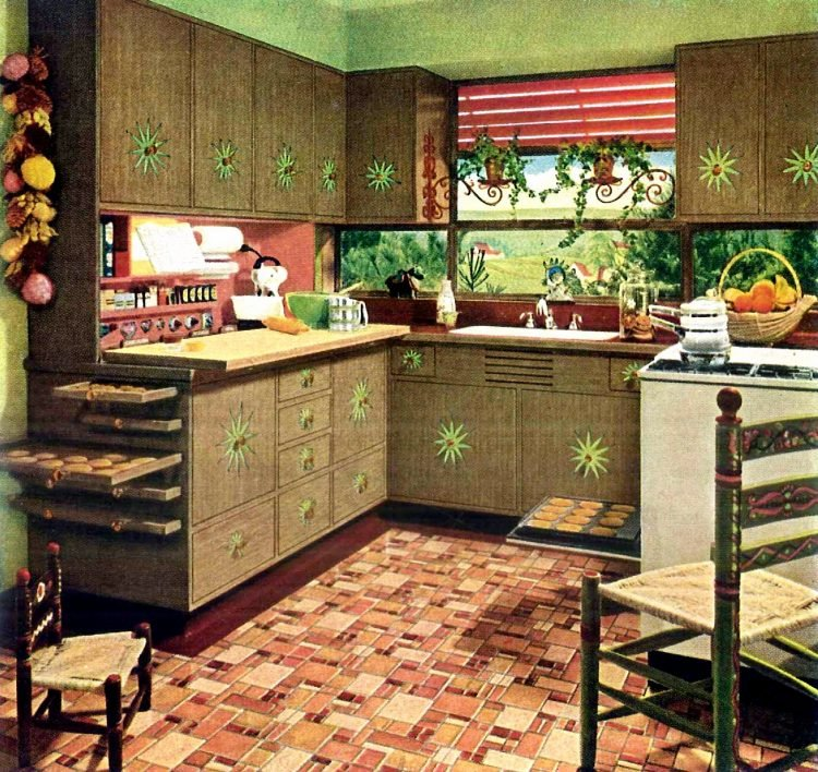 1940s vintage kitchen design with pull-out storage shelves