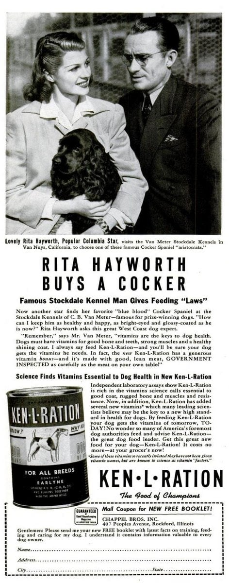 1941 Rita Hayworth Cocker Spaniel - Dog food