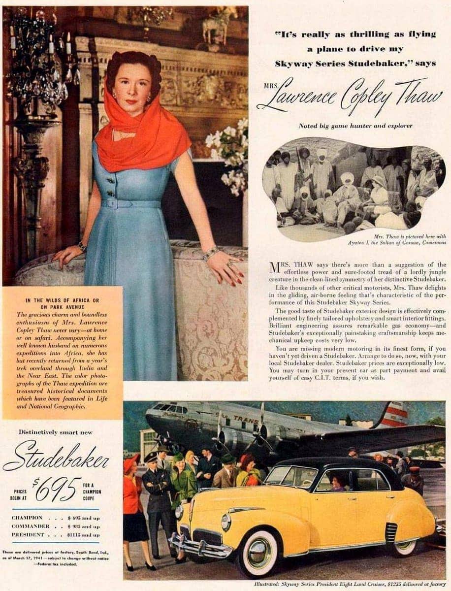 1941 Skyway Series Studebaker Mrs Lawrence Copley Thaw