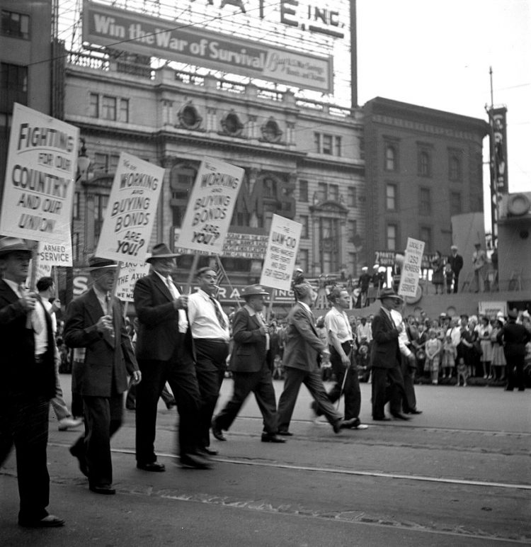 1942 Detroit michigan. Marchers in the Labor Day parade