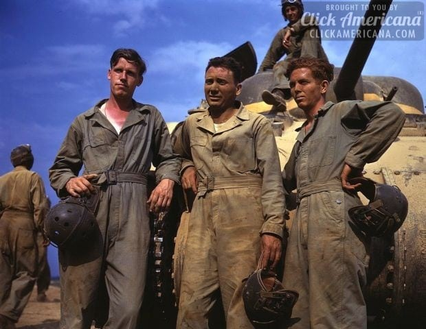 1942-Tank crew standing in front of M-4 tank, Ft. Knox, Ky