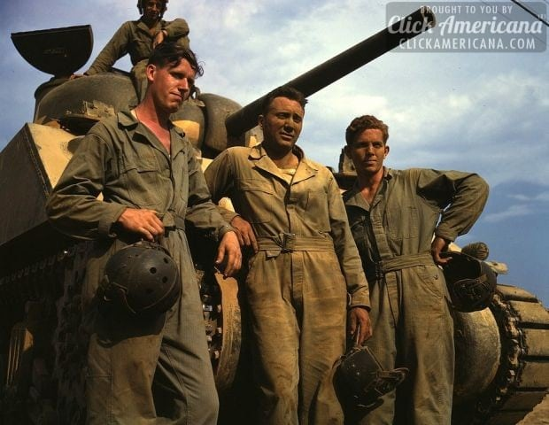 1942-Tank crew standing in front of an M-4 tank, Ft. Knox, K