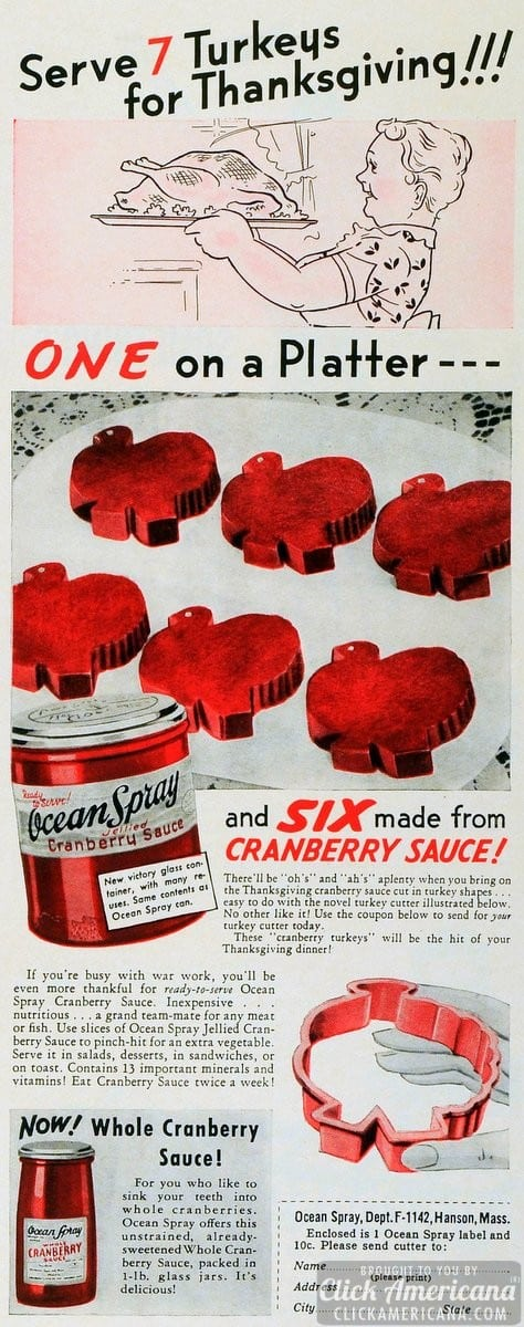 Make turkey shapes from cranberry sauce (1942)