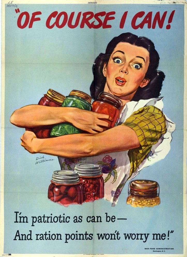 1944 WWII rationing poster - Of Course I Can! I'm patriotic as can be - And ration points won't worry me