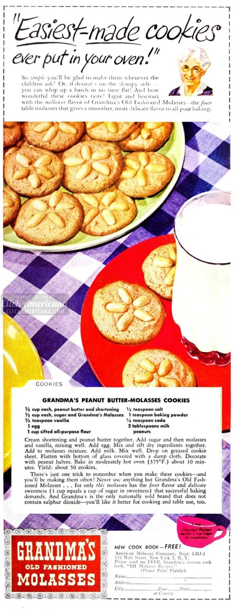 Grandma's peanut butter molasses cookies (1947)