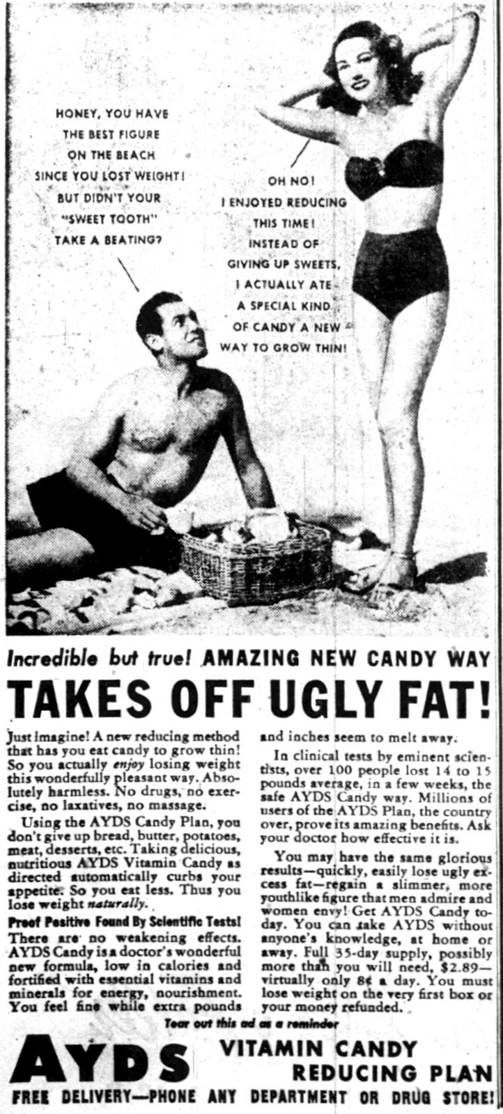 1948 - Vintage Ayds diet candy - takes off ugly fat