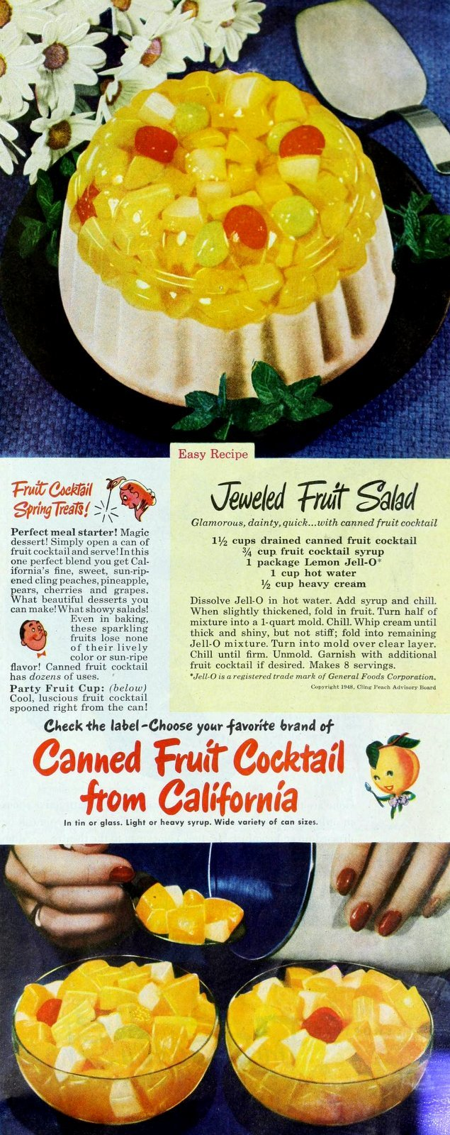 1948 recipe for jeweled fruit salad - made with gelatin and canned fruit cocktail