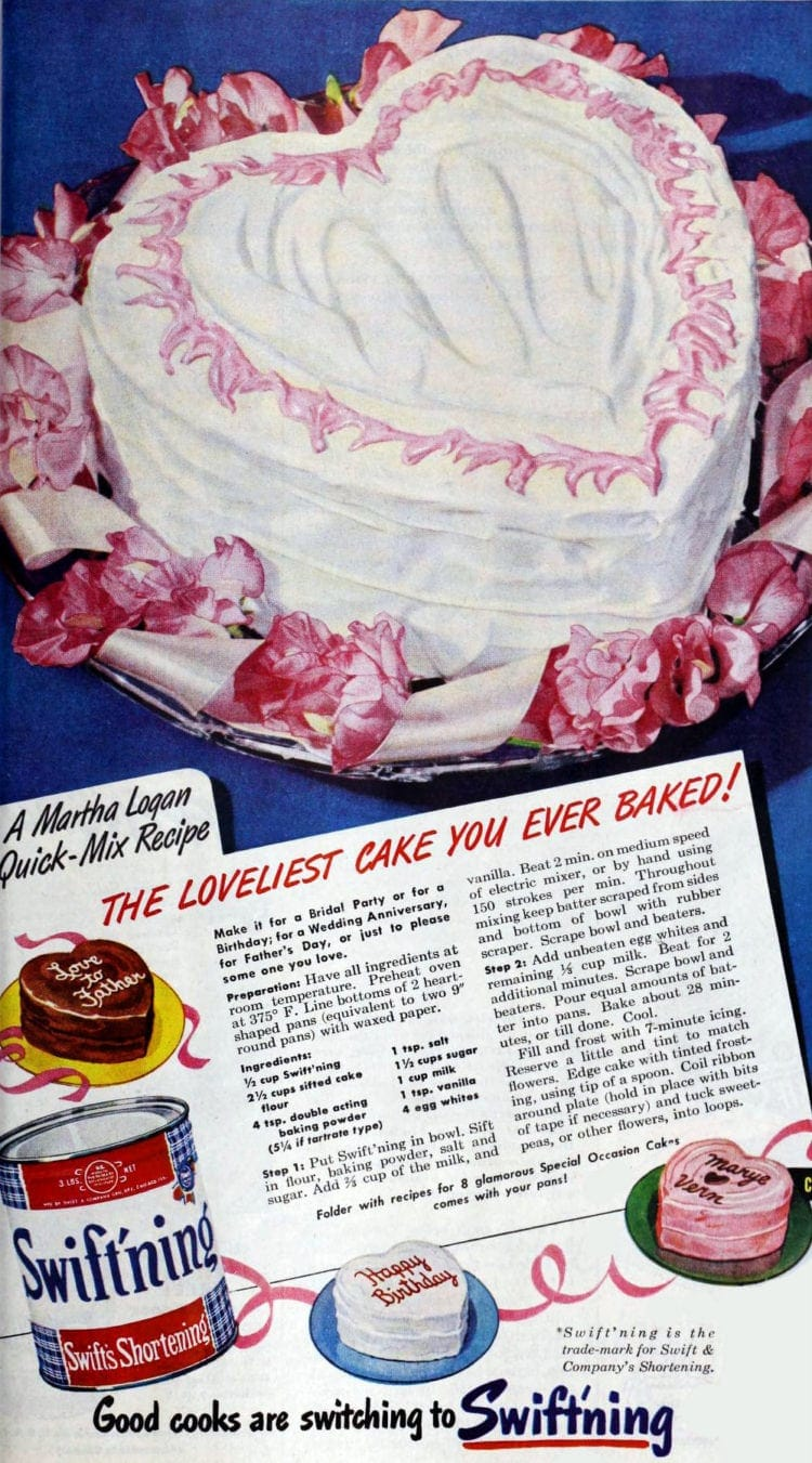 1949 Sweetheart Valentine's Day cake vintage recipe