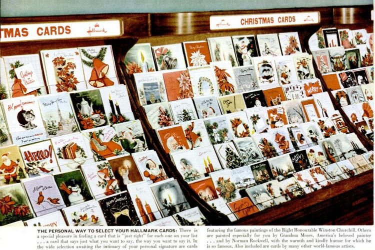 1950 Christmas Cards from Hallmark - Store display
