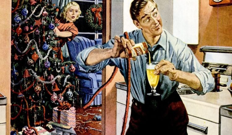 1950 Christmas beer in the kitchen