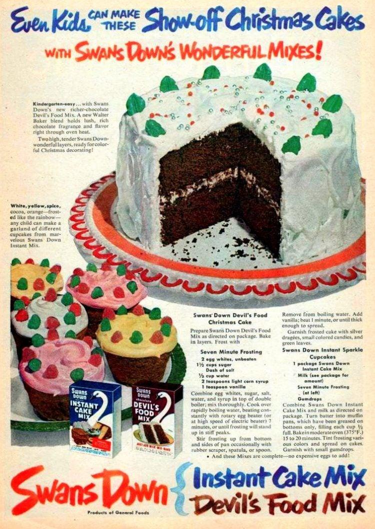 1950 Devil's Food Christmas cake food recipe