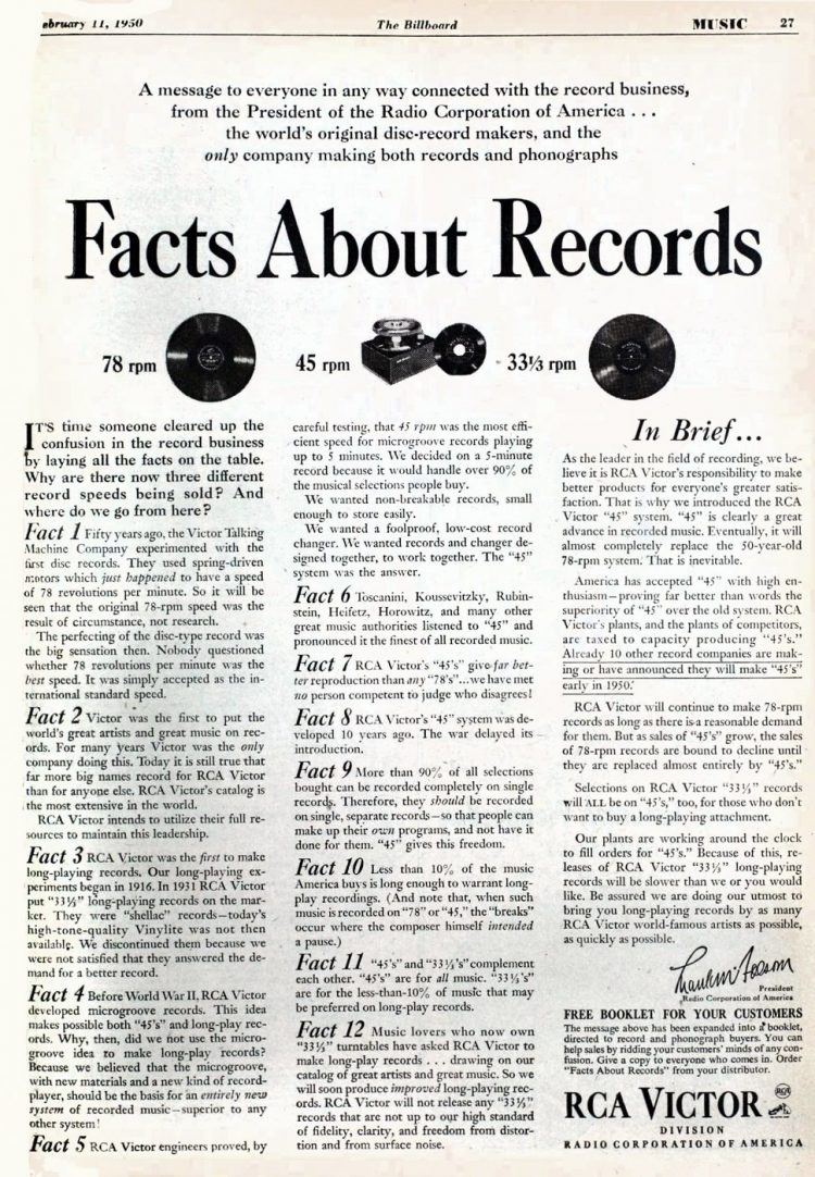 1950 Facts about 45 records - Music industry