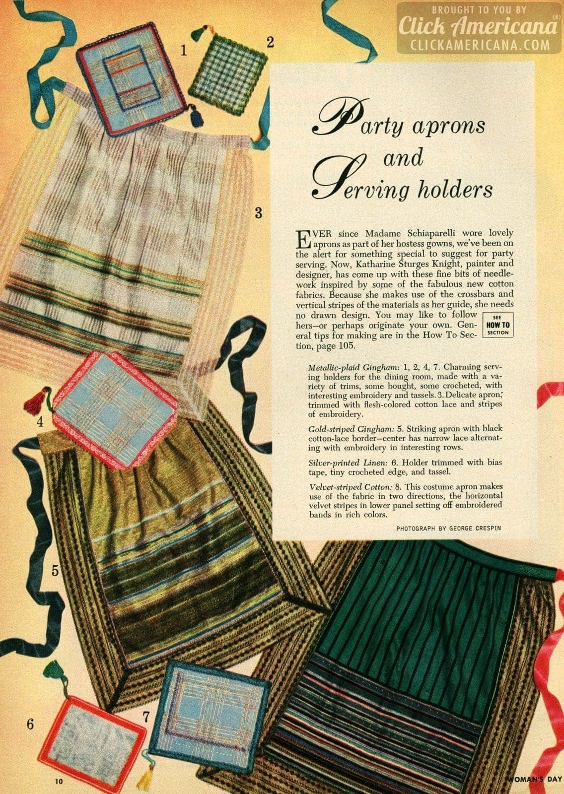 Make your own party aprons & serving holders (1950)