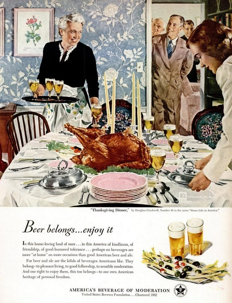 1950 Thanksgiving food and beer
