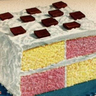 Easy 'square dance' retro checkerboard cake