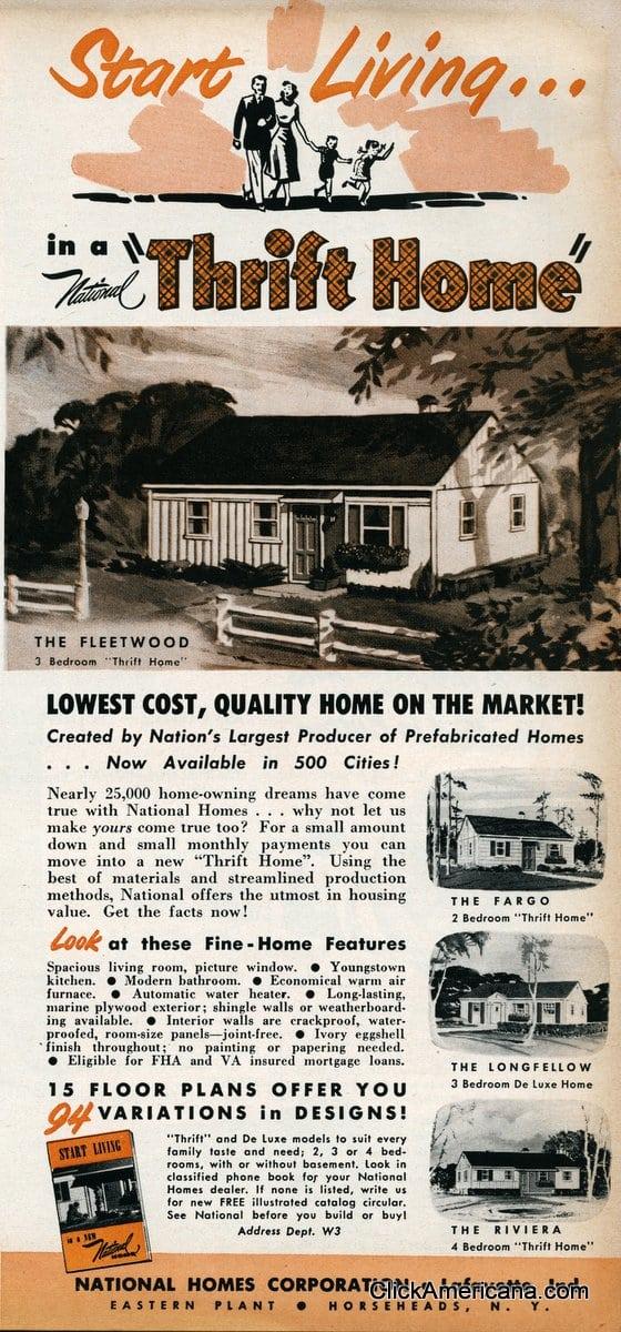 Post War Housing Start Living In A Thrift Home 1950