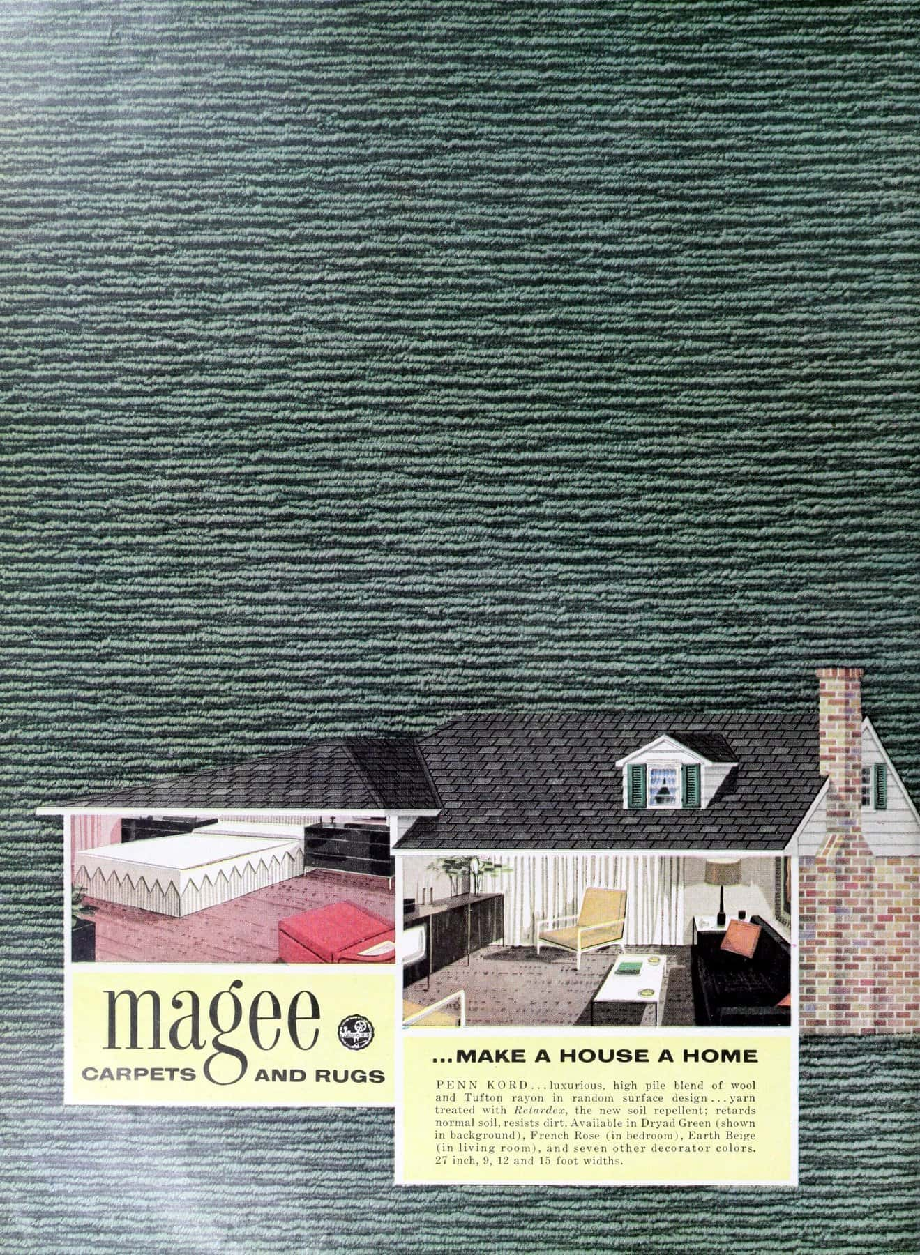 1950s Magee textured carpet home decor styles