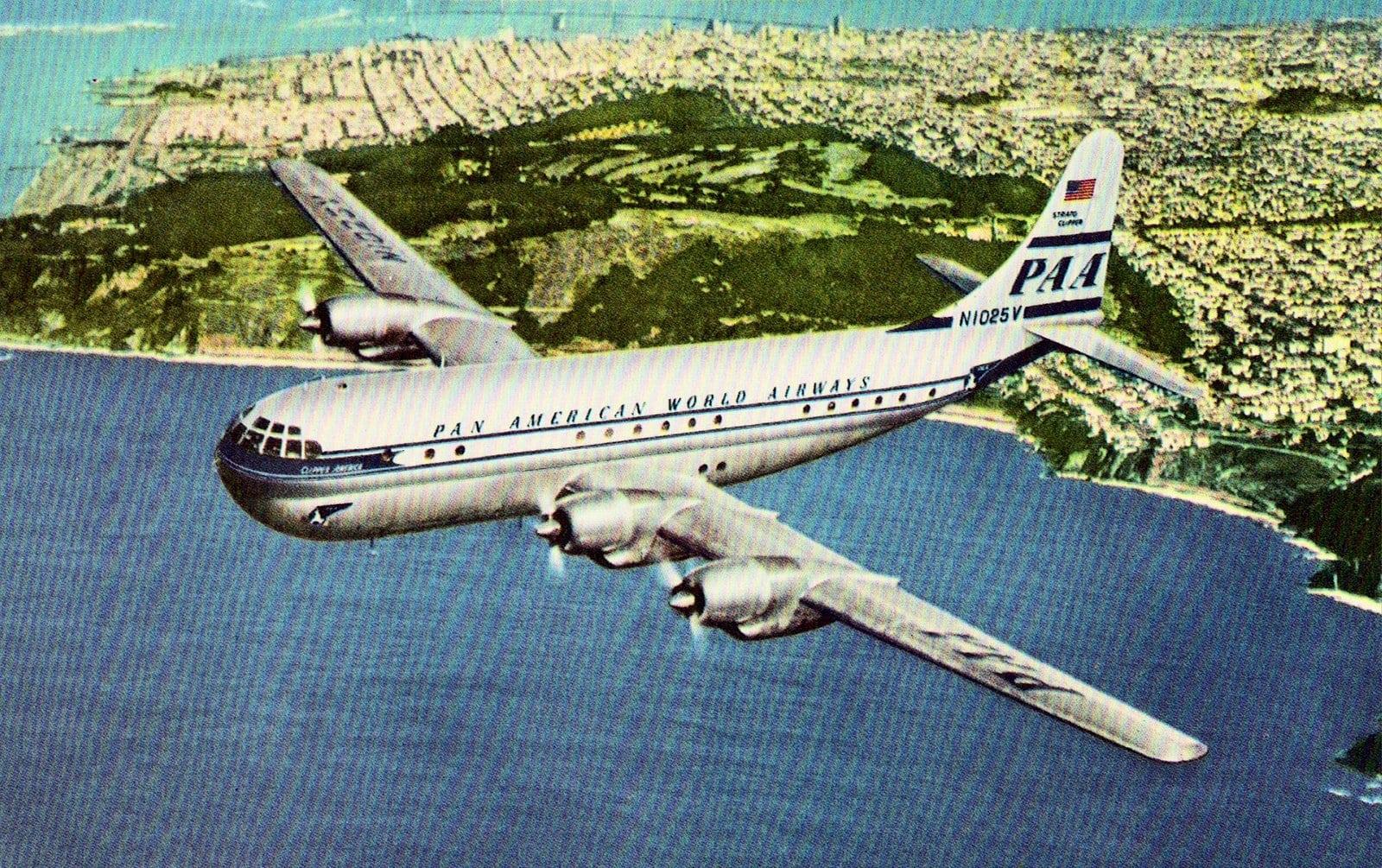 1950s Pan Am plane flies over the Presidio - San Francisco