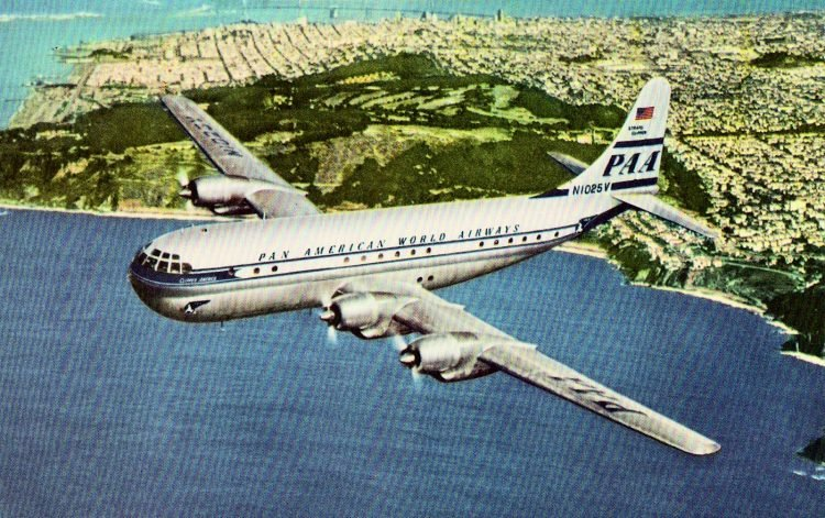 1950s Pan Am plane flies over the Presidio - San Francisco