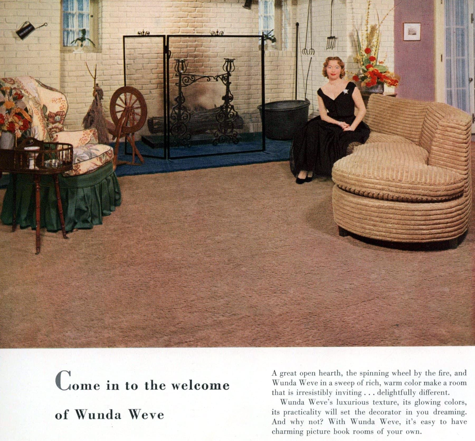 1950s Wunda Weve textured carpeting in brown