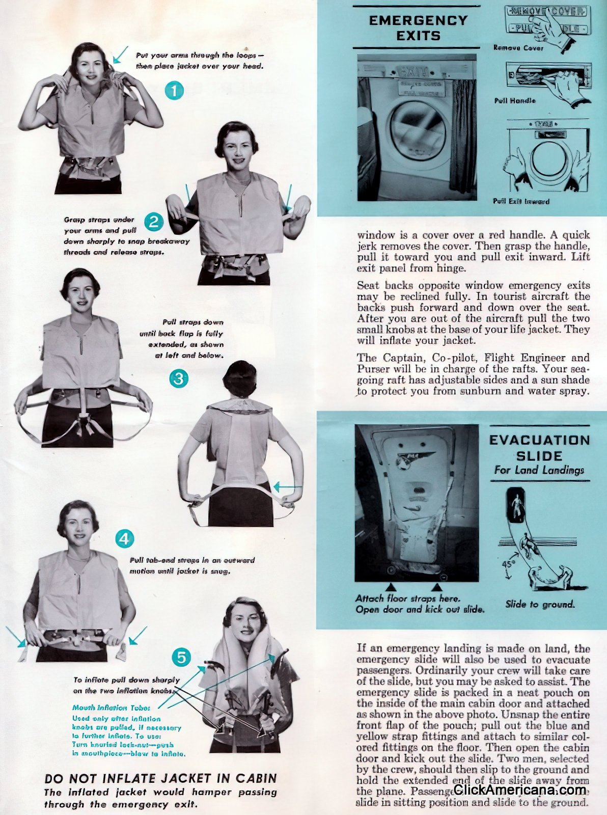 1950s airline emergency instructions safety brochure