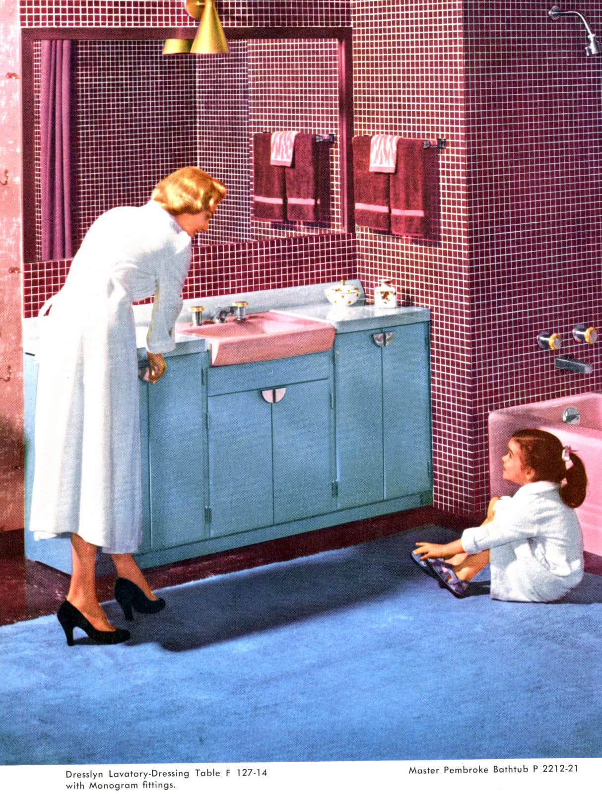 1950s bathroom decor and fixtures in red and blue