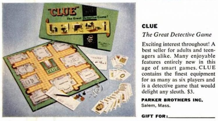 1950s board games - Clue from Parker Bros