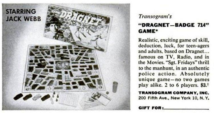 1950s board games - Dragnet Badge 714 game - Transogram