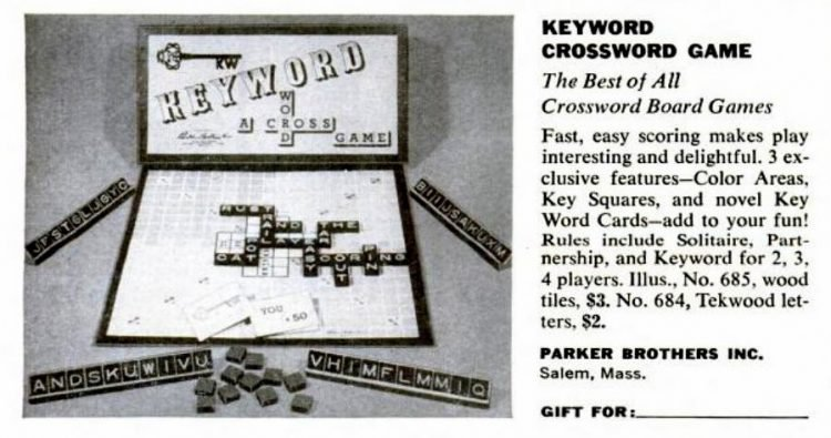 1950s board games - Keyword Crossword Game - Parker Brothers