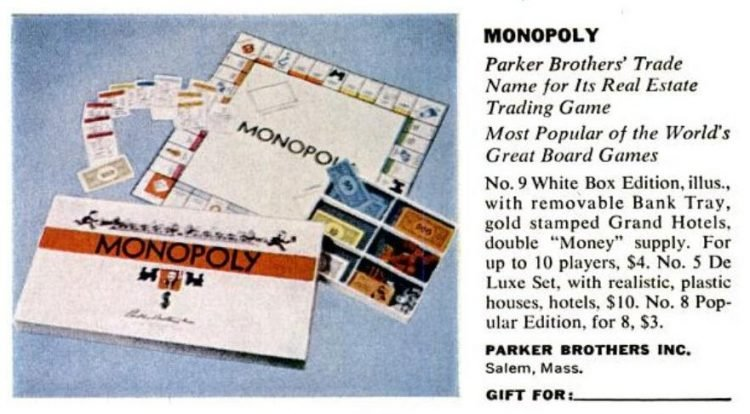1950s board games - Monopoly from Parker Bros