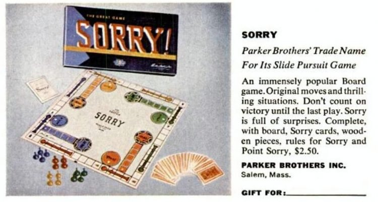 1950s board games - Parker Brothers - Sorry