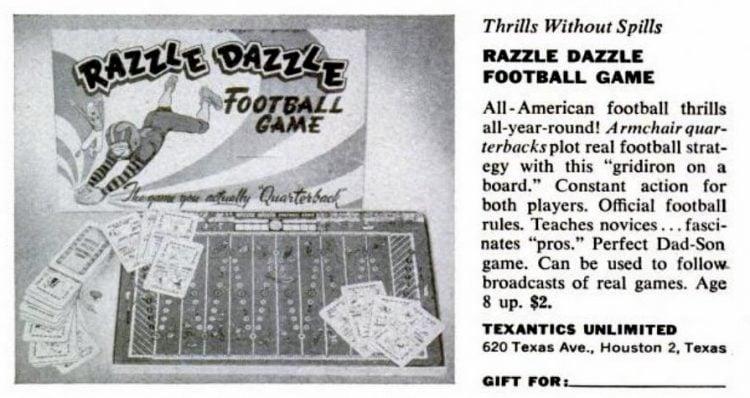 1950s board games - Razzle Dazzle Football Game - Texantics