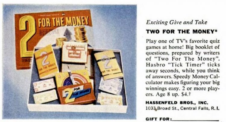 1950s board games - Two for the Money TV quiz game