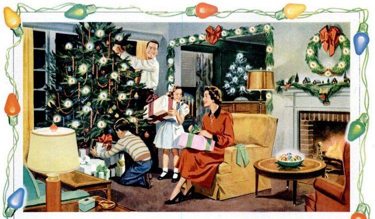 1950s family in their living room at Christmas