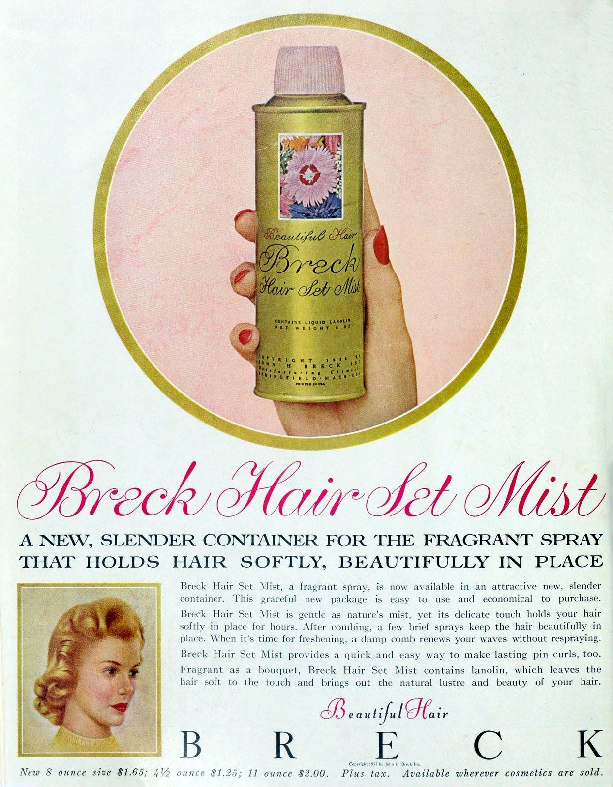 1950s hairspray brands - Breck Hair Set Mist (1957)