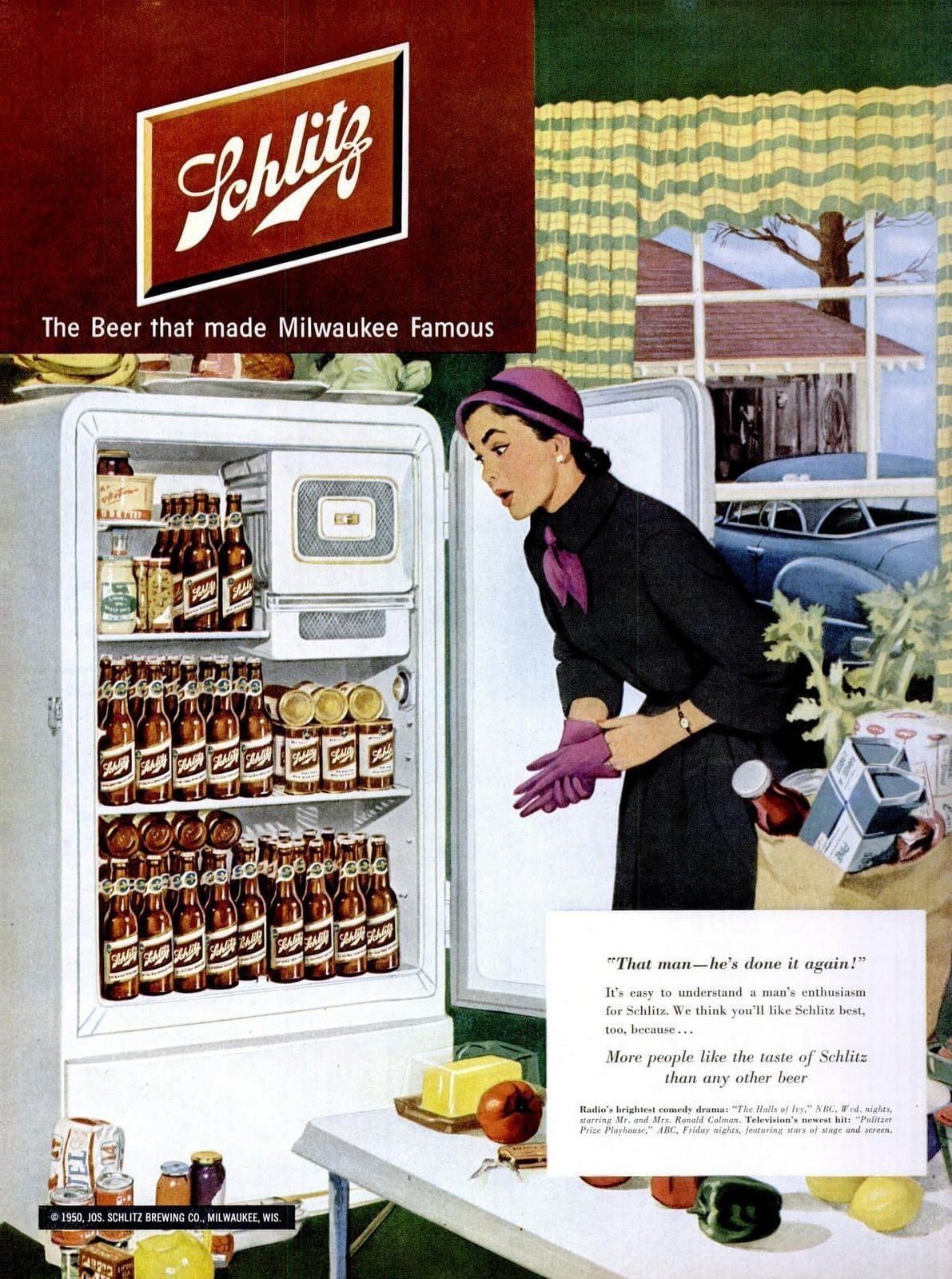 1950s housewife - Refrigerator full of beer