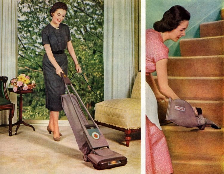1950s housewife - cleaning and vacuuming