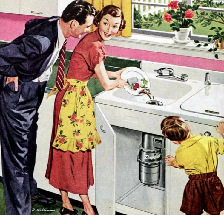 1950s housewife happily washing the dishes