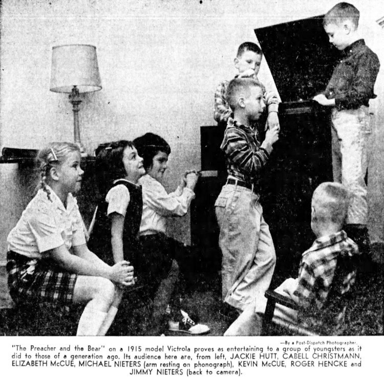 1950s kids listening to an old Victrola