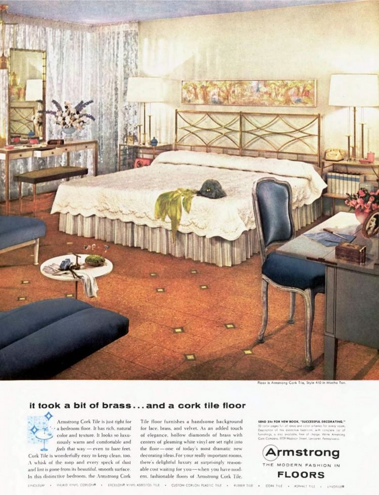 1950s master bedroom with king-size bed and cork flooring