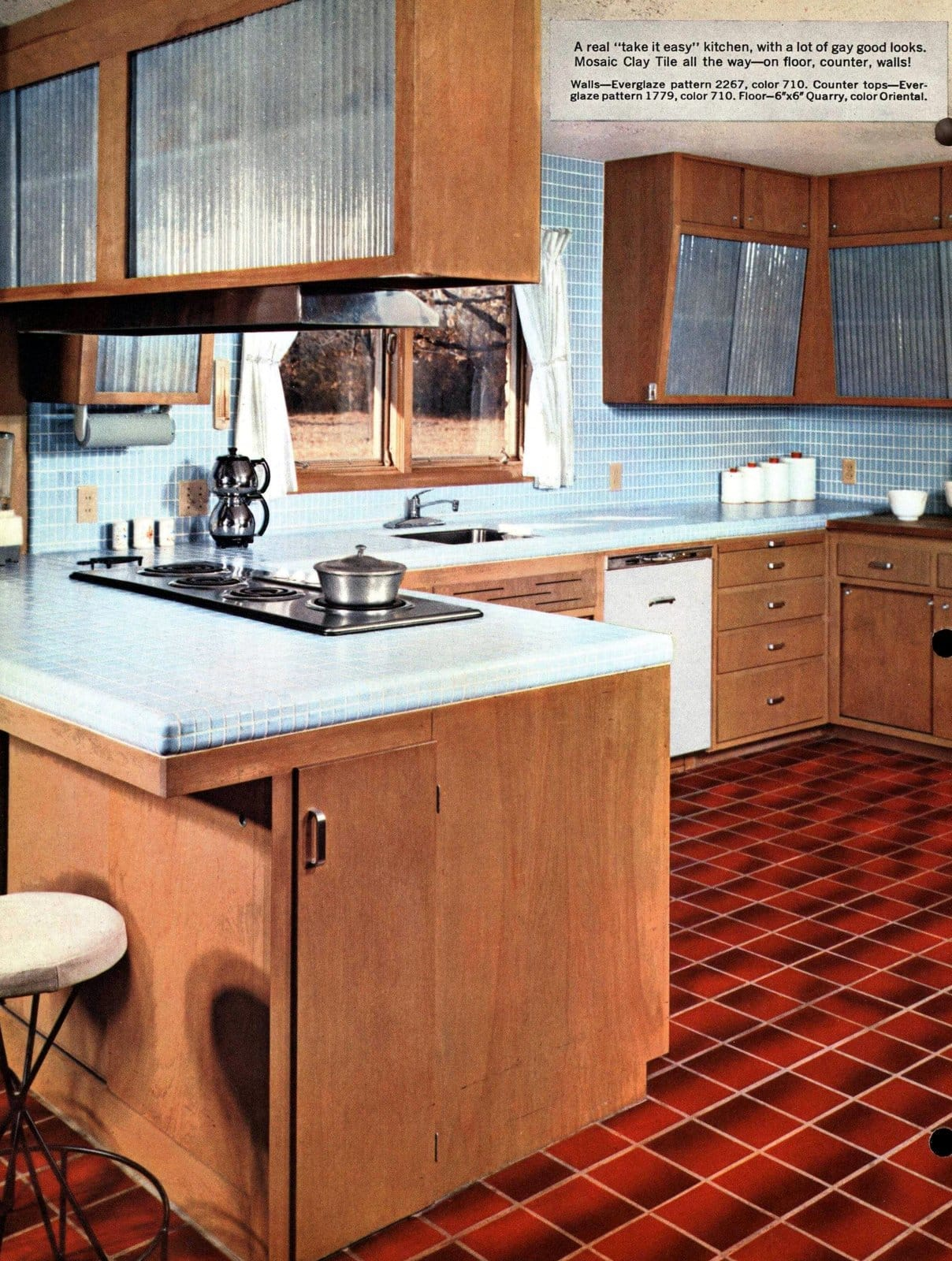 1950s mosaic tile floor, counter and walls